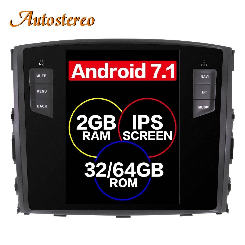 Android 7.1 Tesla style Car No DVD Player GPS Navigation For MITSUBISHI PAJERO V97 V93 Shogun Montero 2006+ head unit multimedia lsqstar 7 car dvd player w gps radio aux swc 6cdc tv canbus dual zone for mitsubishi pajero montero