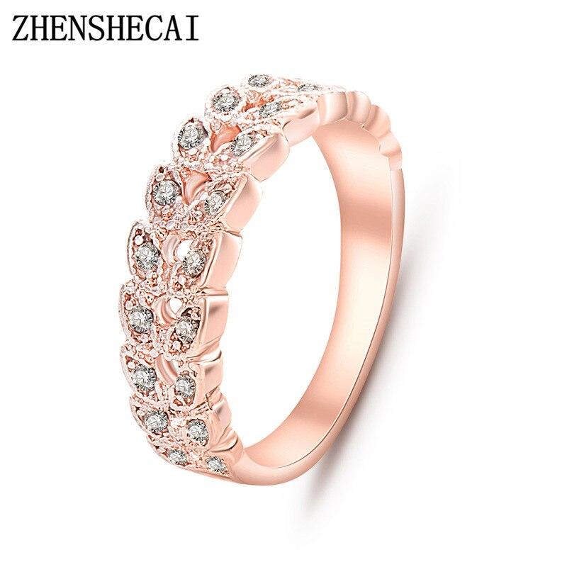 Одежда высшего качества золото лаконичный Классический CZ Кристалл обручальное кольцо из розового золота Цвет Австрийскими кристаллами Оптовая nj92