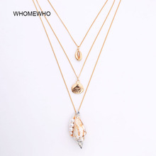 купить Gold Metal Triple Chain Seashell Natural Sea Snail Conch Sealife Necklace Korean Summer Fashion Pearl Neck Minimalist Jewelry дешево