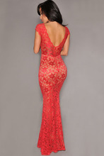 Orchid Lace Nude Illusion Low Back Evening Gown Dress