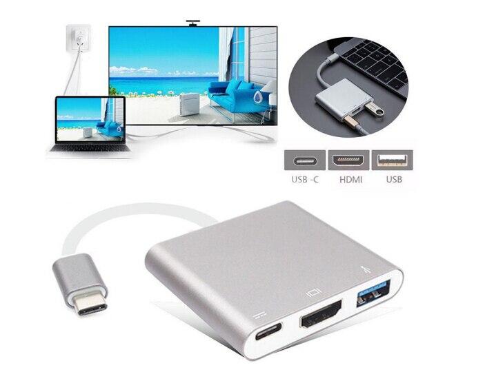 bilder für USB-C 3,1 bis 4 Karat HD HDMI HDTV USB 3.0 Typ C 3 in 1 Lade Hub Konverter-kabel-adapter 100 stücke großhandel