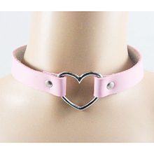 Fashion Punk Rock Leather Necklace Button Jewelry Sweet Heart Handmade Harajuku Choker Necklaces Women