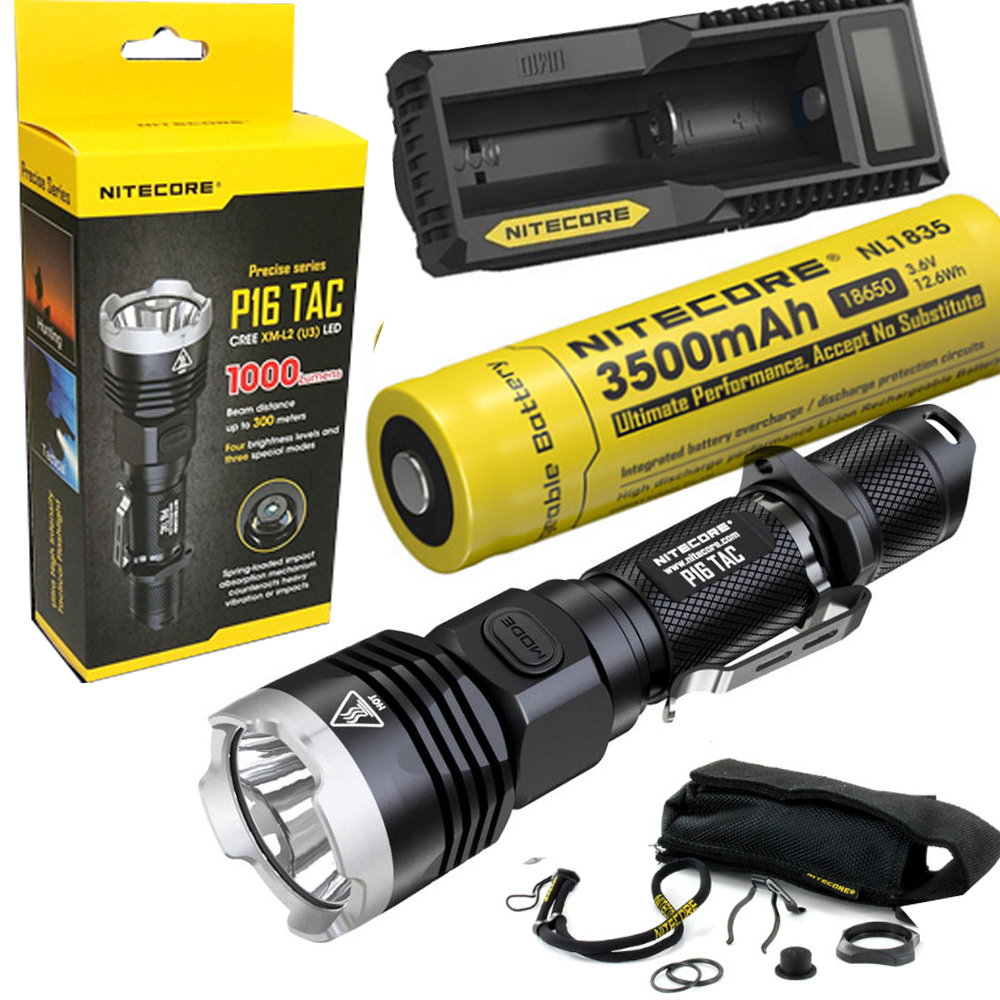 Nitecore P16 TAC 1000 Lumens CREE XM-L2 U3 LED Tactical Flashlight Hunting Search Torchs with 3500mAh 18650 battery and charger nitecore p20 flashlight cree xm l2 u2 led max 800lm led torch for outdoor sports 3500mah 18650 battery and um10 charger