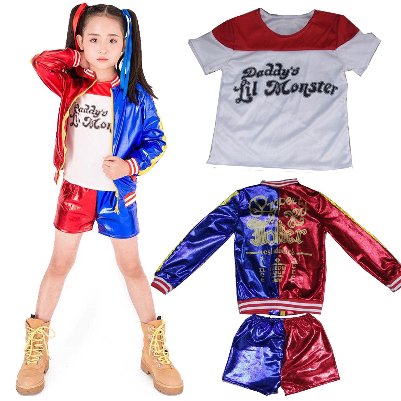 Halloween Women Kids Girl Costume Suicide Squad Harley Quinn Cosplay Fancy Dress