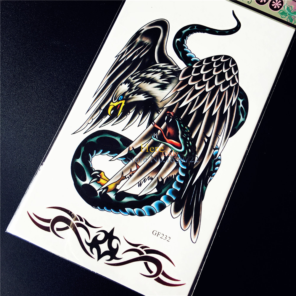 Hot Eagle Hawk Fight Snake Cobra Temporary Tattoo Sticker Men Women Arm Tattoo Sleeve Waterproof Body Art Tattoo Stickers HGF232
