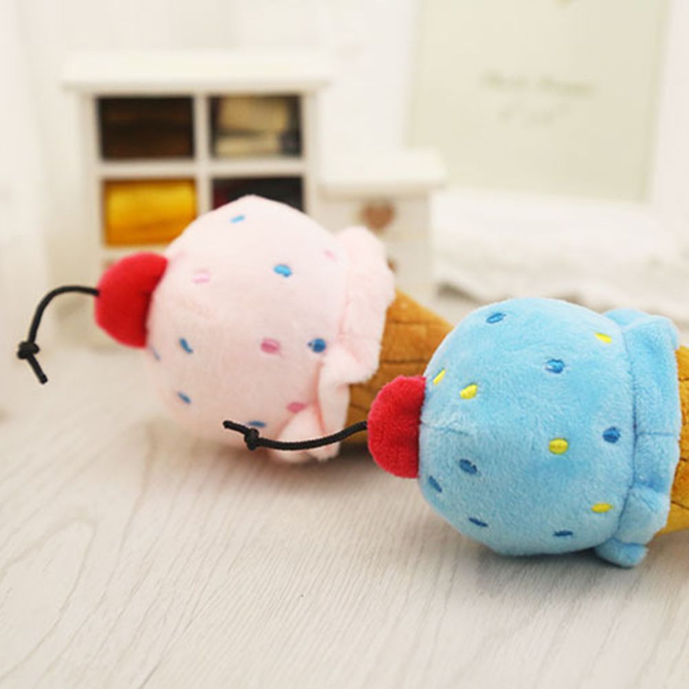 TINGHAO Lovely Dog Puppy Plush Squeak Pet Cat Chew Ice Cream Cone Soft Play Sound Toys