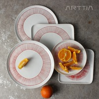 Classical Round Circle Creative New Ceramic Dinner Plate Procelain Square Dish Wholesale