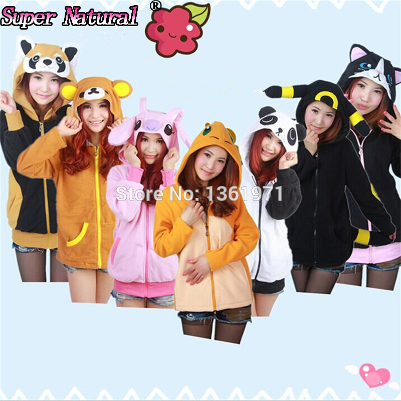 HKSNG High Quality Autumn Winter Women Blue Pink Unicorn Cat Raccoon Owl Stitch Hoodies  Cosplay Coat Jacket Sweatshirts
