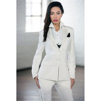 New White Elegant Formal Work Wear Slim 2 Piece Sets Womens Business Suits Two Button Blazer