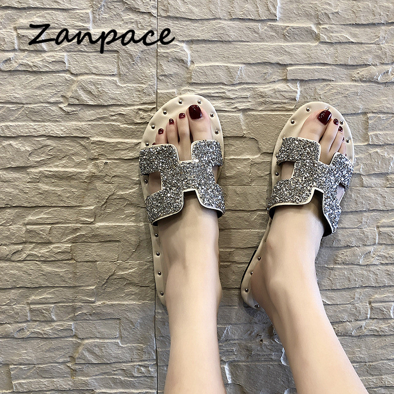 Zanpace Spring New Slippers Fashion Low Women Shoes Bling H Word Flip Flops Non-slip Sexy Flat Slides 2019 Slippers WomenZanpace Spring New Slippers Fashion Low Women Shoes Bling H Word Flip Flops Non-slip Sexy Flat Slides 2019 Slippers Women