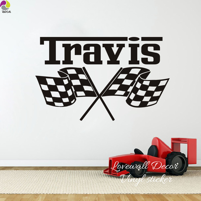 Custom Racing Car Flag Name Wall Sticker Boy Room Kids Personalized Checkered Flags Race Theme Decal Vinyl Decor