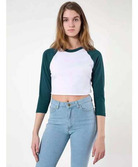 10887338f4872 Woman American Apparel AA Patchwork Long Sleeve Crop Tops Short tshirt  Survetement Femme Top Tee 5 color-in T-Shirts from Women s Clothing on  Aliexpress.com ...