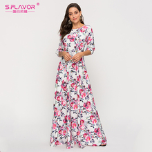 S.FLAVOR Women Autumn Winter Long Dress Elegant Lantern Collar Floral Printed Vestidos De Women Bohemian Casual Dresses