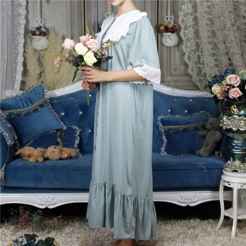 On-Sale Cotton Nightgown Plus Size Vintage Sleepwear Victorian Dress Luxury Medieval Nightwear Women Sleep Lounge Home Cloth