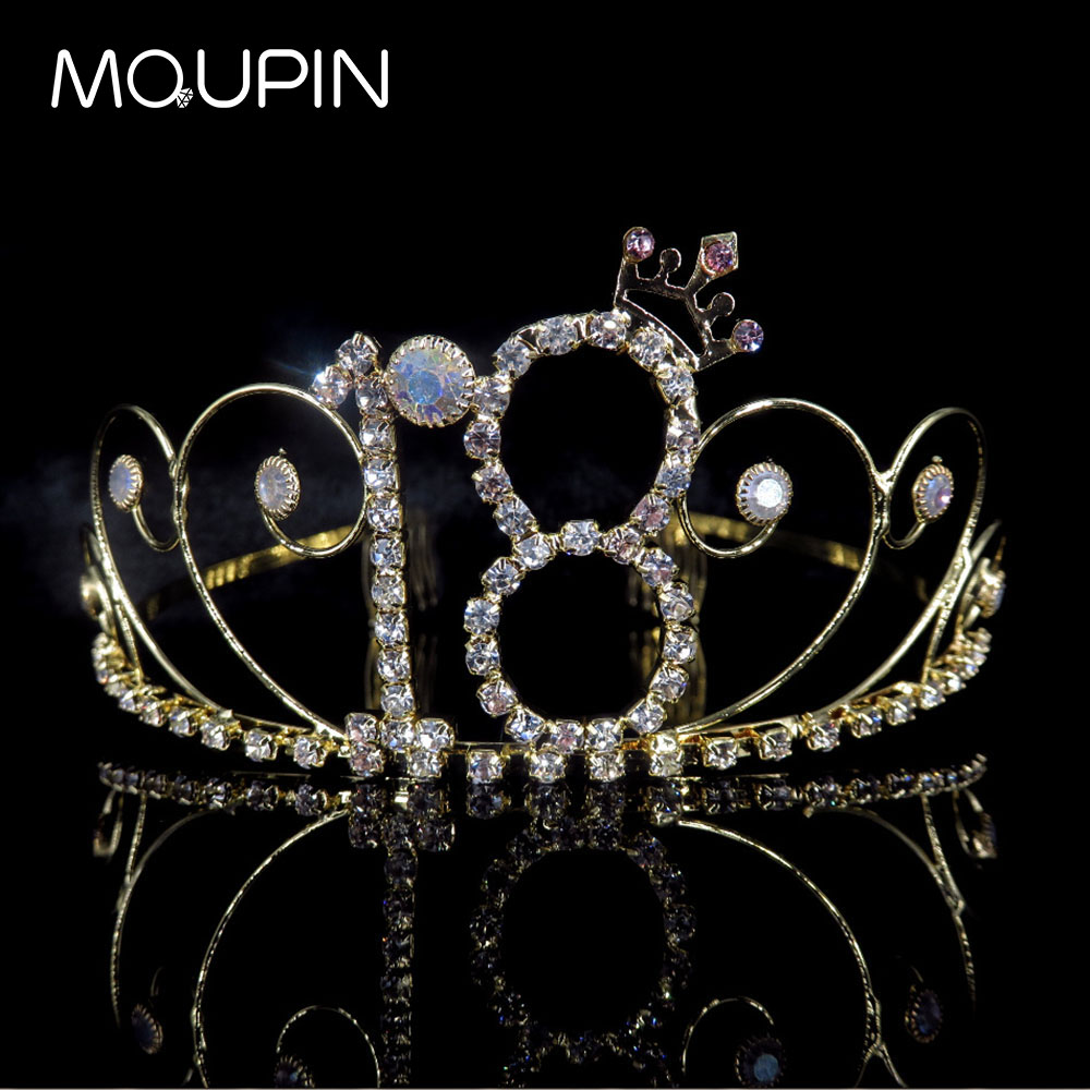MQUPIN Princess Tiaras digital shape Rhinestone Queen Crown luxurious gold Bride Hairband ornaments Wedding Party Accessories