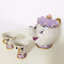 Фотография [1 POT + 2 CUPS] Cartoon Beauty And The Beast Tea Set Taza Bela E A Fera Mrs Potts Teapot Chip Cup Set Lovely Creative Cute Gift