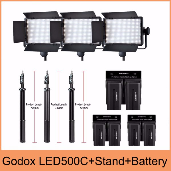 Godox Professional LED Video Light LED500C Changeable Version 3300K-5600K + battery+Dual Charger +2m light stnad godox professional led video light