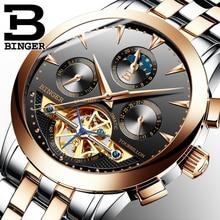 8 цветов binger роскошный бизнес часы для мужчин tourbillon дизайн из нержавеющей стали автоматические механические часы водонепроницаемый b-1188g