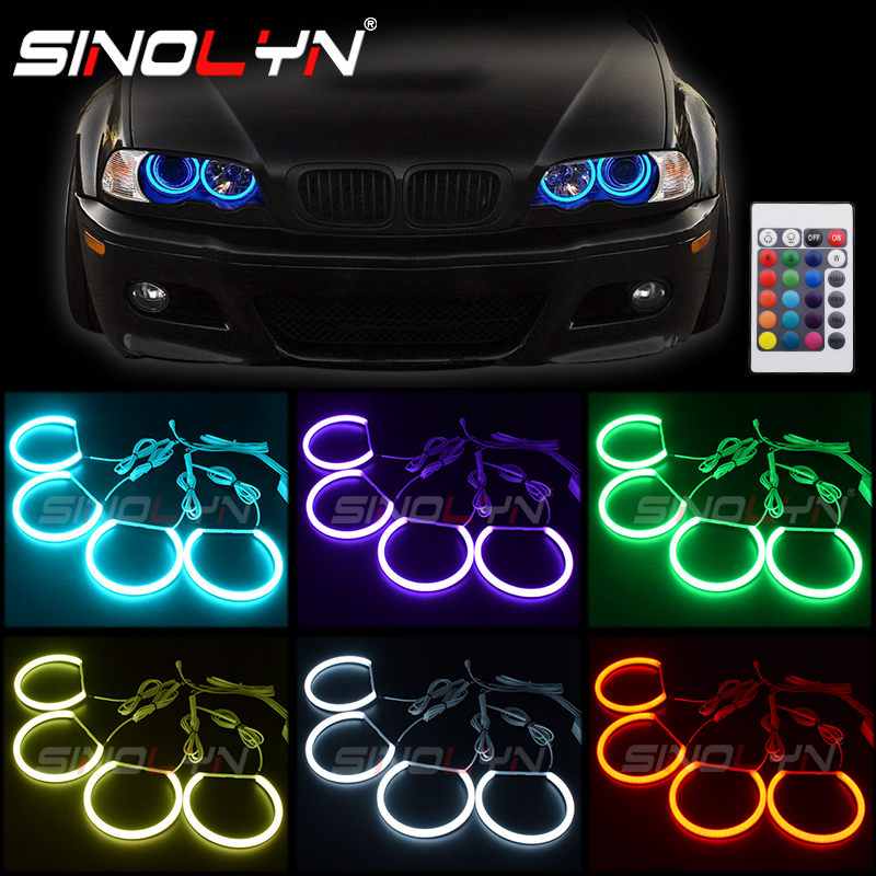 RGB LED Light Angel Eyes DRL Halos Multi-Color For BMW 3 Series E46 Sedan/Wagon/Coupe Halogen Xenon Projector Headlight Retrofit