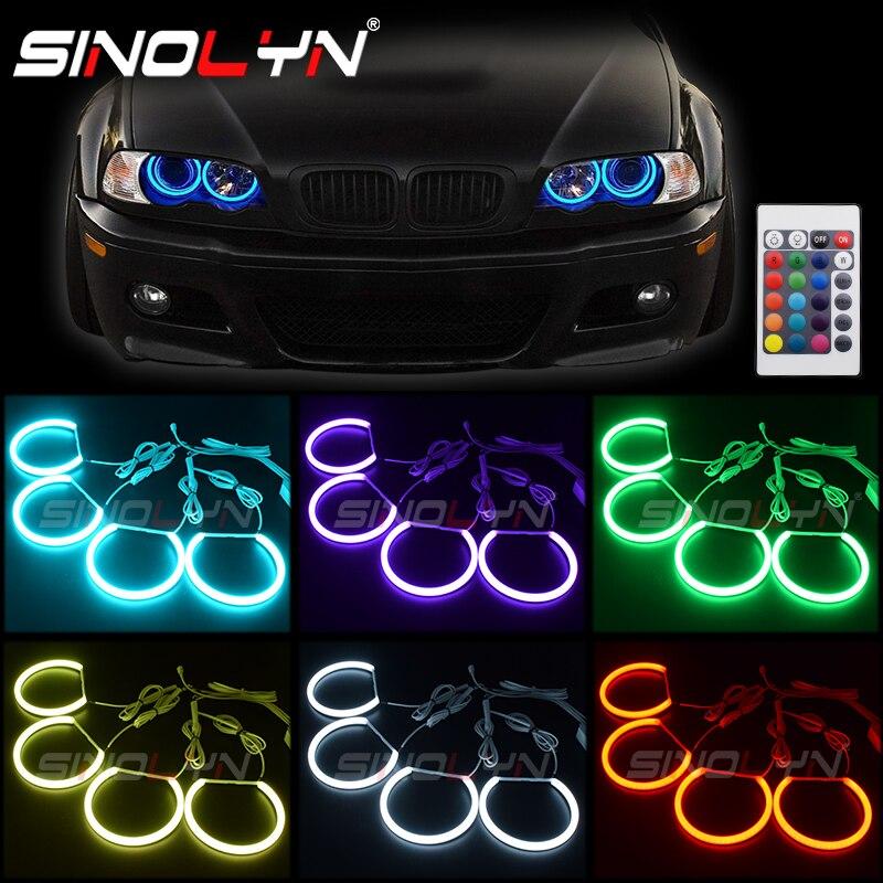 Rvb lumière LED Angel Eyes DRL Halos multicolore pour BMW série 3 E46 berline/Wagon/Coupe halogène projecteur au xénon