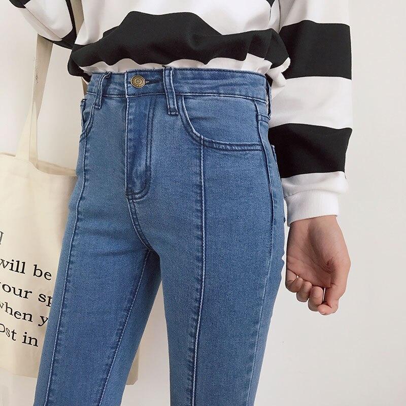 2017 New Slim Stretch High Waist Skinny Jeans Female Scratch Worn Feet Vintage Black Blue Pencil Pants Women Jeans