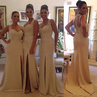 Katristsis d Hot Sale Gorgeous Sleeveless Long Lace Bridesmaid Dresses Appliques 2018 Front Split Party Gown Zipper Button Back