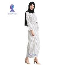 Muslim Stripe Maxi Dress Trumpet Sleeve Abaya Gowns Tunic Kimono Jubah Middle East Ramadan Arab Islamic Clothing