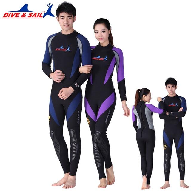 b4a8e5ccbb US $46.2 20% OFF|1.5MM Neoprene Long Sleeved One piece Lovers Wetsuit Men  Women Snorkeling Jumpsuit Full Body Dive Wet Suit Warm Winter Swim Surf-in  ...
