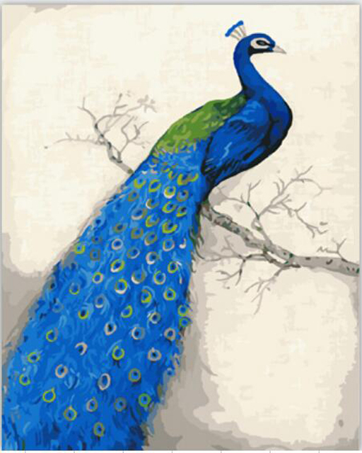 Blue Peacock Painting By Numbers Quadros Home Decor Wall