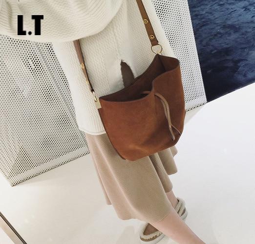 2017 Women Real Leather Messenger Bag Casual Vintage Simple Trendy Bucket Open Brown Nubuck Suede Weekend Feminine Shoulder Bag