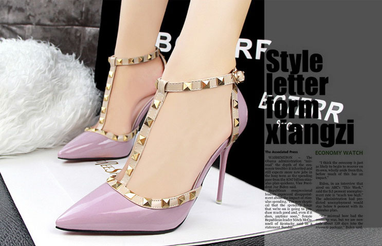 Aliexpress.com : Buy Women Sexy T strap Rivets Studded High Heels ...