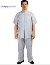 100 silk sangbo crepe damask men s clothing set pure silk stand collar short sleeve top
