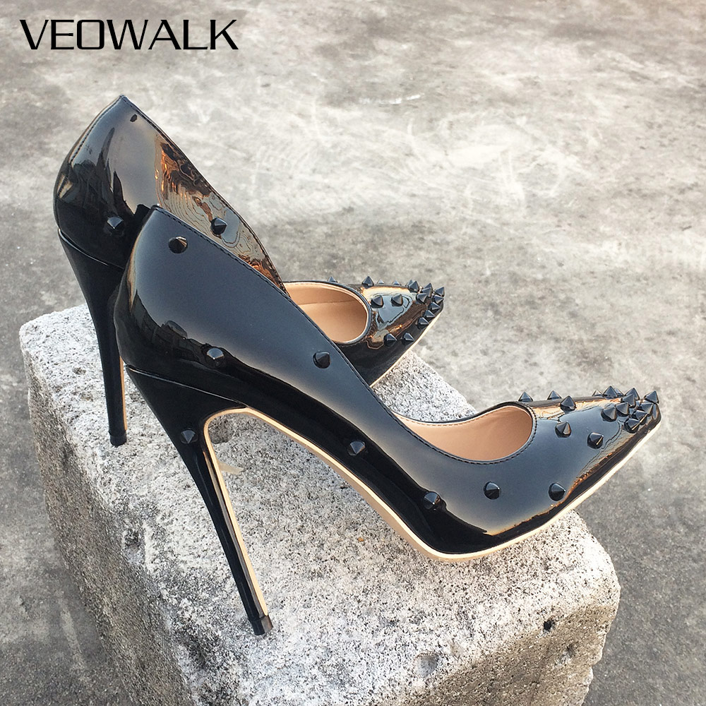 Veowalk Rivets Women Sexy Extreme High Heels Fashion Ladies Patent Leather Pointed Toe Stiletto Pumps Shoes Color Customized