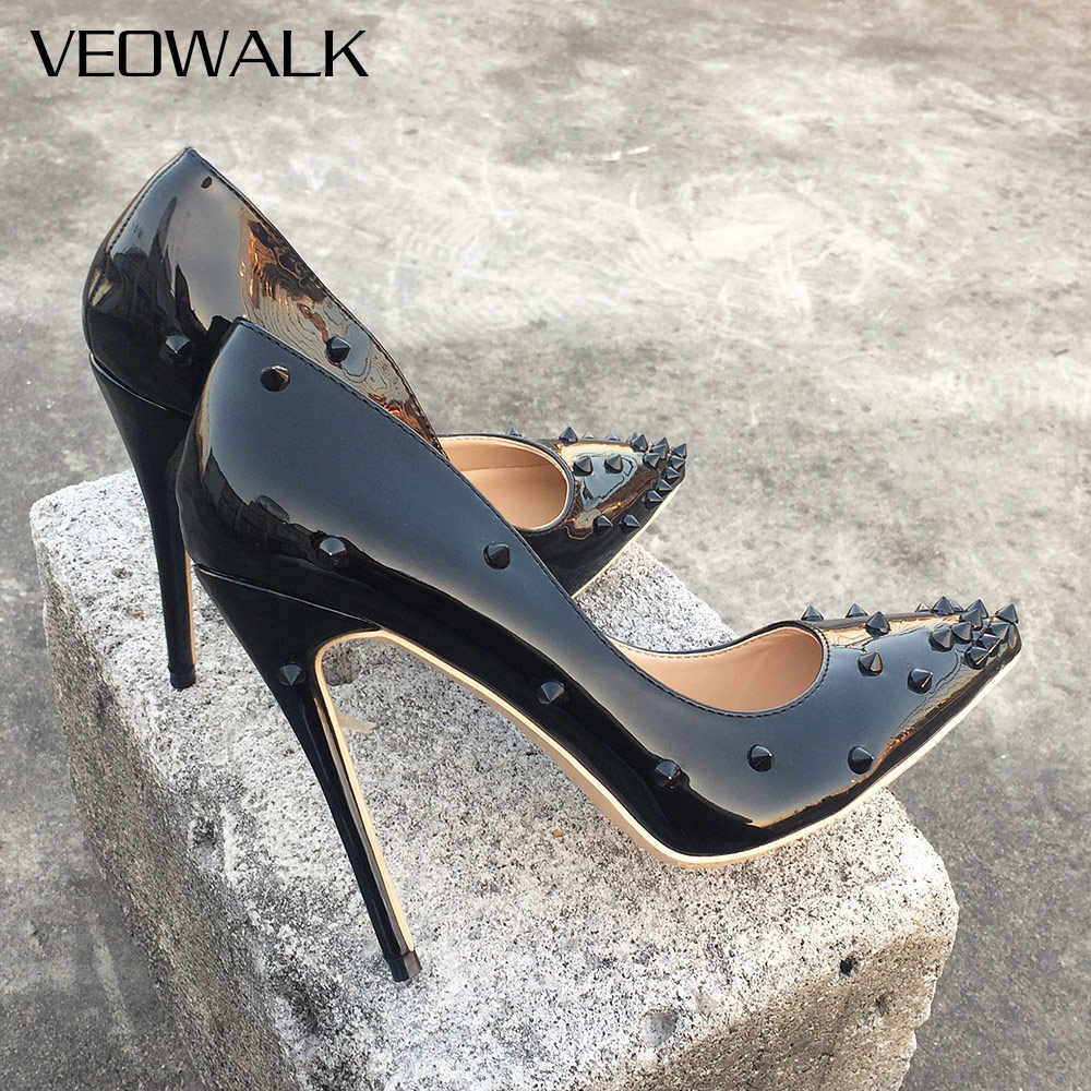 69492bbfd2 Veowalk Rivets Women Sexy Extreme High Heels Fashion Ladies Patent Leather Pointed  Toe Stiletto Pumps Shoes