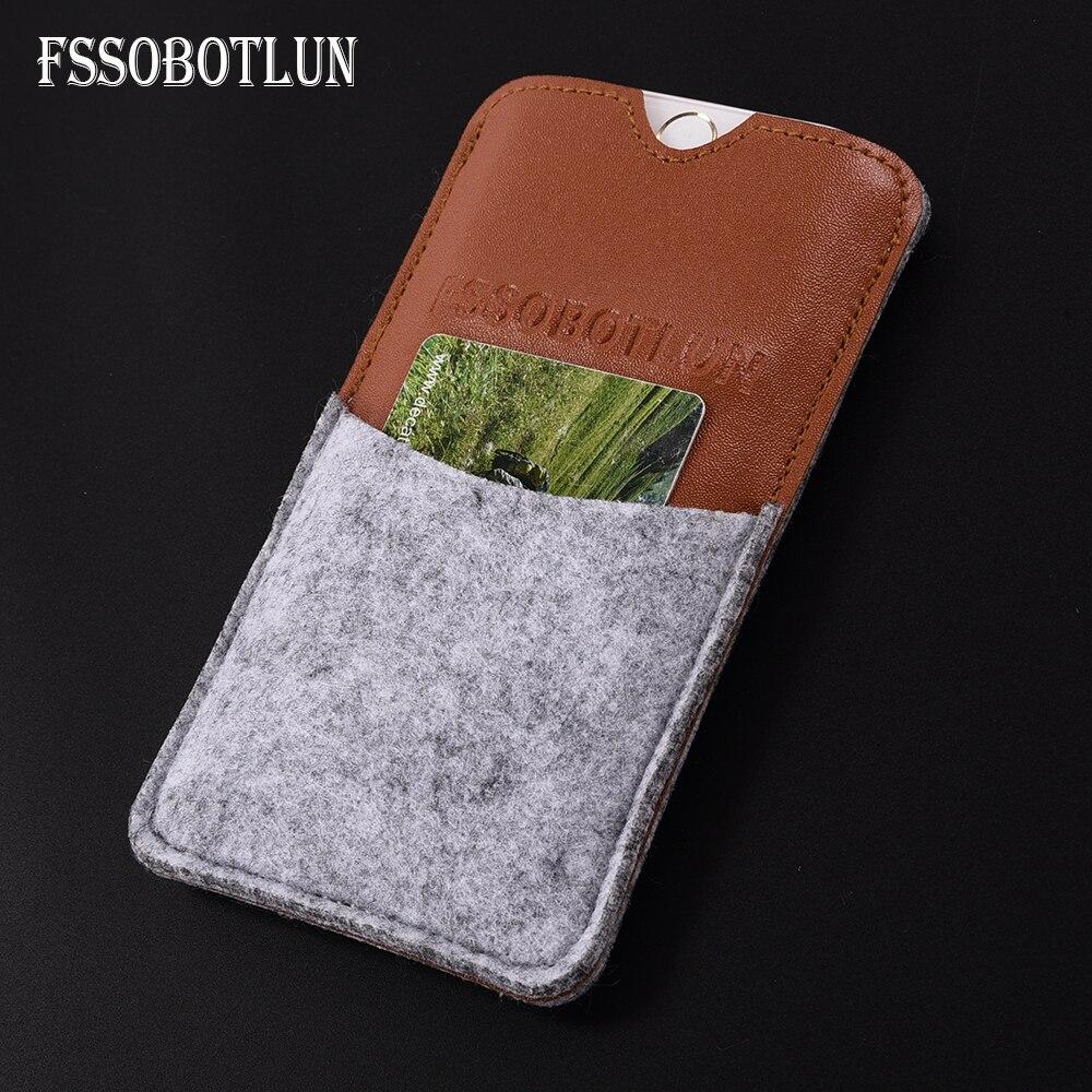 FSSOBOTLUN,6 Styles For XOLO Era 2X 5.0 inch Case Protector Card Pocket Bag Handmade Wool Felt Pouch Phone Sleeve Bag
