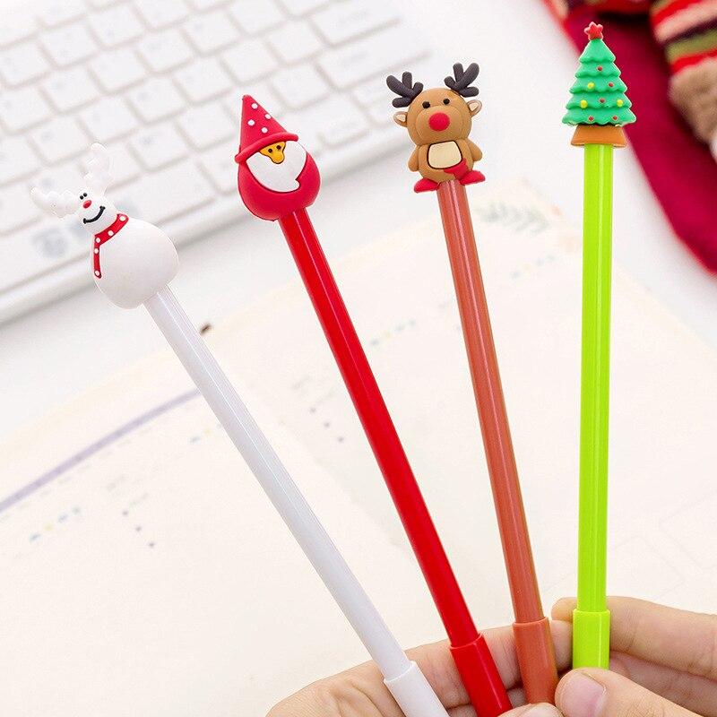 4pcs/lot Cute Kawaii Santa Claus Gel Pens Creative Christmas Pen 0.5mm For Kids Christmas Gift School Stationery Gifts Wholesale