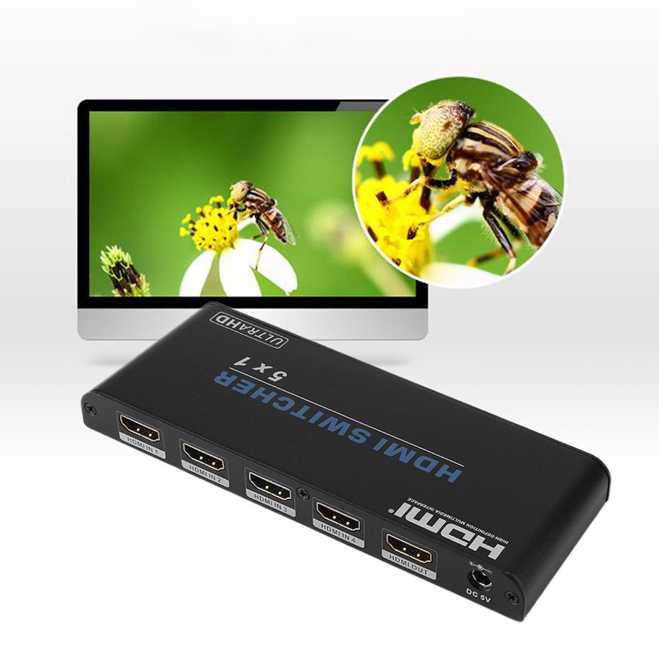 5*1 HDMI 2.0 Switcher Adapter 5 In 1Out Support 3D UHD 4K HDCP 2.2 With IR Remote Control 1 5