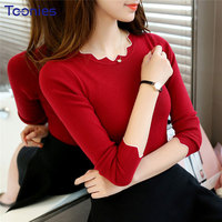 Wave O Neck T Shirts Long Sleeved Knitted T Shirt Solid Basic Tshirt Womens Clothing Female