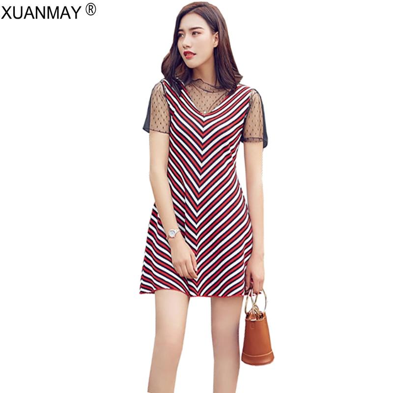 Summer 2018 New Lace Stripe Knit Sweater Dress Spring Knitted Dress Women Casual sexy Sweater Dress Fashion Mesh Dress