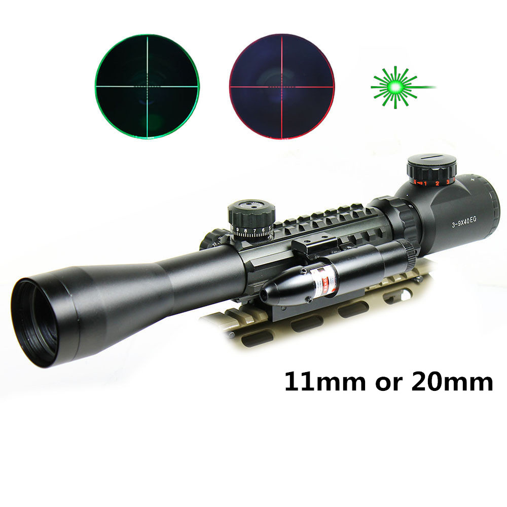 3-9X40EG Hunting Scopes + Laser for Airsoft Air Guns Chasse Hunting Airsoft Pistola Sight Scope Sniper Tactical Riflescopes рулонный экран для проектора digis electra dsem 4305 180х240см mw