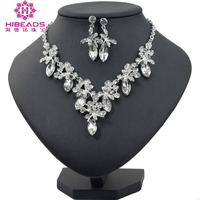 Fashion Bridal Jewelry Sets Wedding Necklace Earring For Brides Party Accessories Gold Crystal Dubai Gift Women