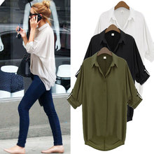 Summer hot-selling all-match half sleeve chiffon shirt fashion loose plus size loose shirt top