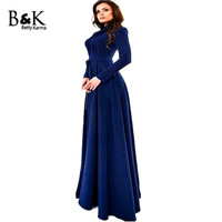 Full Sleeve Solid Blue O Neck Collar Long Dress 2016 New Style Spring Fashion Beach Maxi