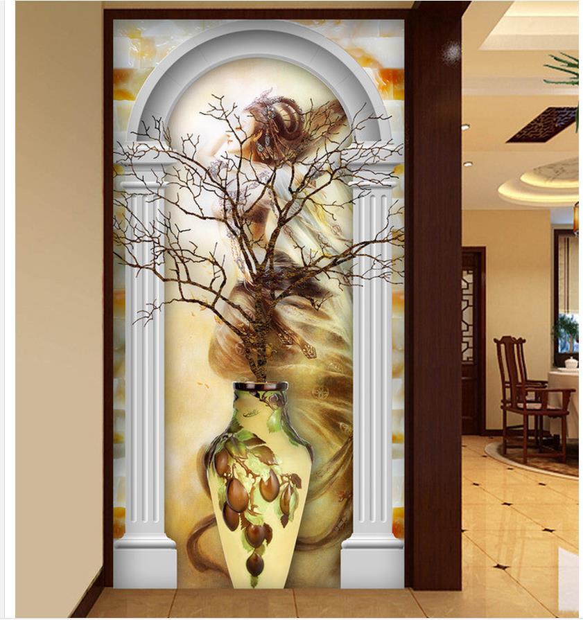 3d roman column woman entrance passage background wall for Decoration cost per m2