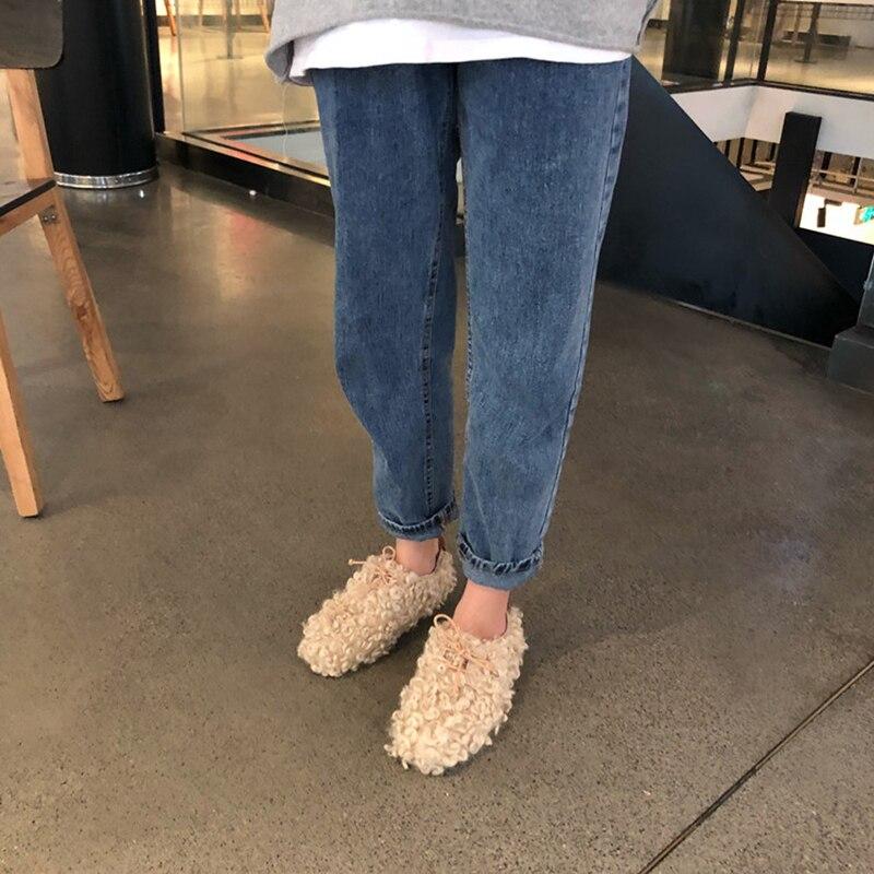 Zapatillas Loisirs Nouvelle Chaud Laine Women2019 Célébrité blanc Moelleux Mocassins Beige Conduite Hiver Appartements noir Neige Chaussures Non slip 78rP7qx5