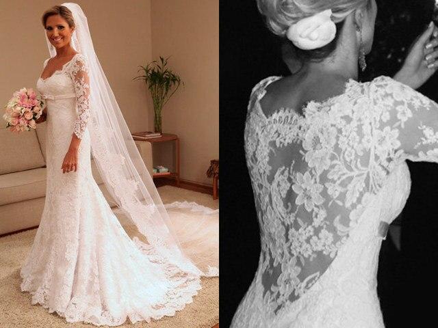Vintage Hochzeit Kleid Vestidos De Novia 2015 Langhülse Spitze ...