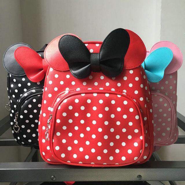 cdbea6dec152 2018 High Qualit Children PU Red Bow Tie Ear Bags Girls School Bags Cartoon  bowtie Girl Princess Backpack Love Children Backpack