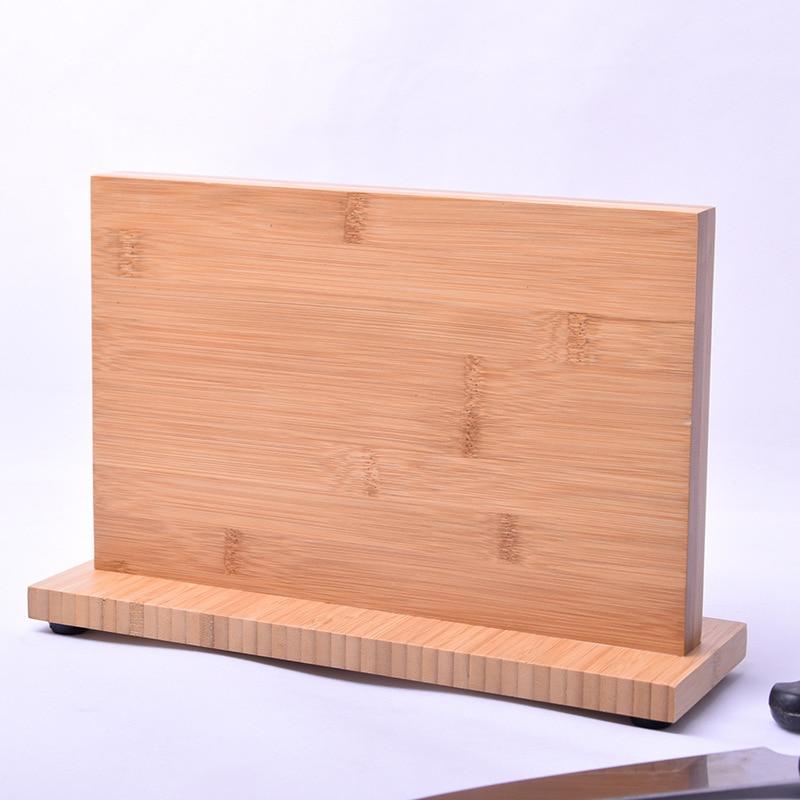 Super mocny magnetyczny uchwyt na nóż z litego drewna bambusa nóż kuchenny stojak na stojak na noże stojak do przechowywania stojak na szefa kuchni naczynie narzędzie w Sakwy i torby na kółkach od Dom i ogród na  Grupa 3