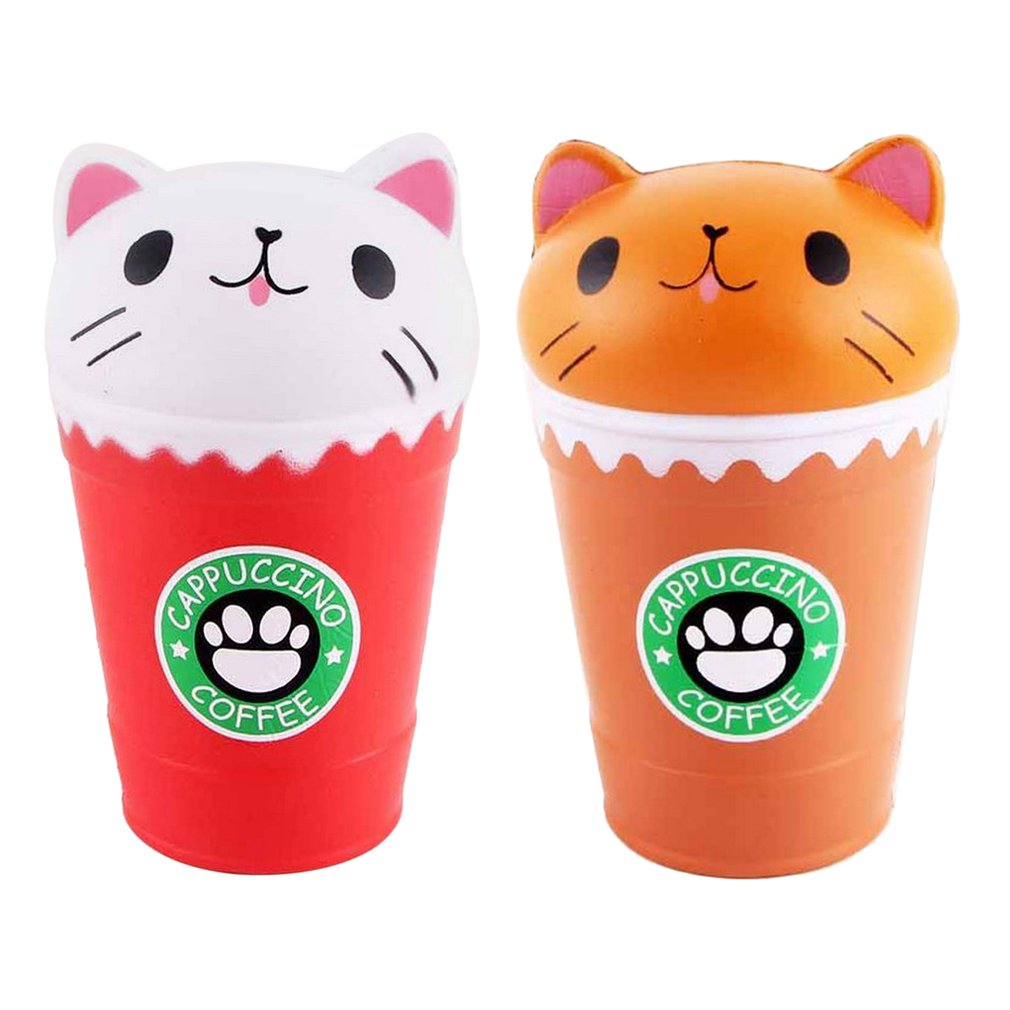 Kawaii Squishy Coffee Cup Cat Toys Head Scented Practical Slow Rising Squeeze Toy Adult Anti-strss Best Gift Stress Reliever Toy