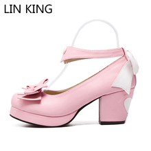 Купить с кэшбэком LIN KING New Style Lolita Shoes Cosplay Sweet Bowtie Ankle Straps Square Heels Round Toe Pumps Soft PU Leather All-match Shoes